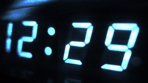 4K Digital Clock Turn to 12 30 Futuristic Design 1 Footage