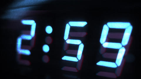 4K Digital Clock Turns to 3 Sci Fi Design 1 Footage
