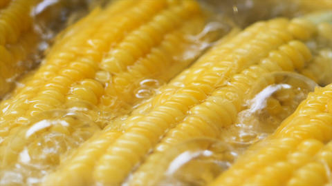 Slow motion close up shot corn boiling in the hot pot high vitamin fruit and vegetable4 Archivo