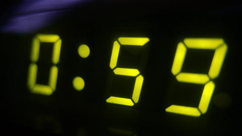 4K Digital Clock Turns to 1 Footage