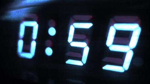 4K Digital Clock Turns to 1 Sci Fi Design 1 Footage