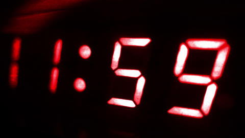 4K Digital Clock Turn to 12 Futuristic Design 2 Footage