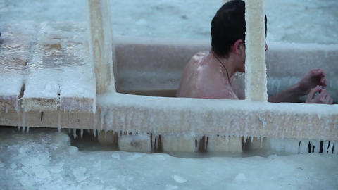 Winter bathing Stock Video Footage