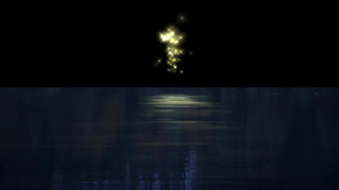 signal bomb & fireworks reflection in the sea Animation