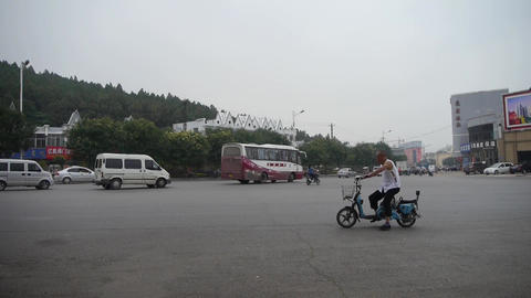 Urban town busy road traffic,Asia China Chinese people Footage