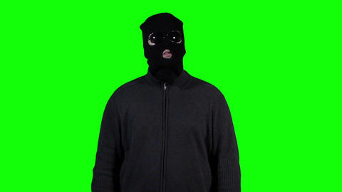 Hacker in Mask Breaking System Greenscreen 4 Footage