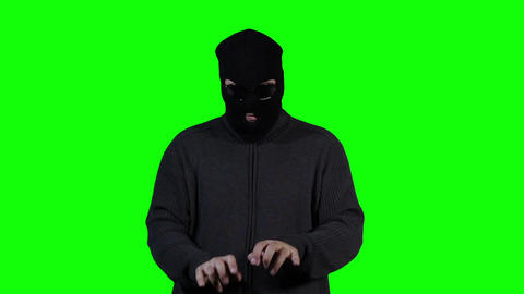 Hacker in Mask Breaking System Success Greenscreen 5 Stock Video Footage