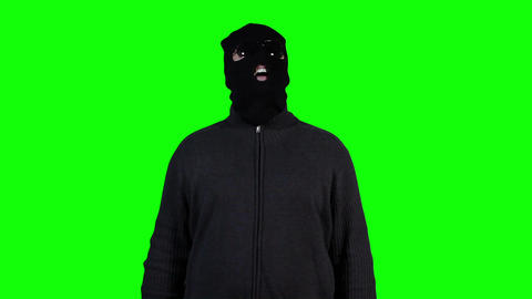 Hacker in Mask Breaking System Success Greenscreen 5 Stock Video Footage