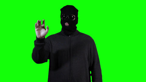 Hacker in Mask Touchscreen Breaking System Success... Stock Video Footage