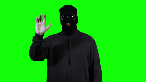 Hacker in Mask Touchscreen Breaking System Success Greenscreen 6 Footage
