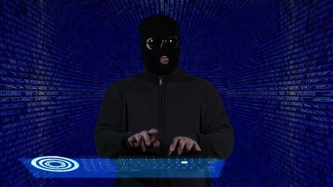 Hacker Working Hard Tunnel Design 2 Stock Video Footage