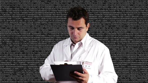 Scientist Checking Documents Decimal Numbers Background 2 Footage