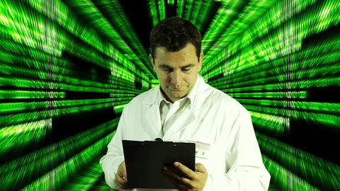 Scientist Checking Documents Numbers Tunnel Background 3 Stock Video Footage