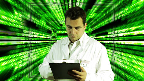 Scientist Checking Documents Numbers Tunnel Background 3 Footage