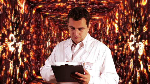 Scientist Checking Documents Numbers Tunnel Background 5 Stock Video Footage