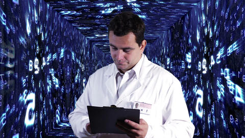 Scientist Checking Documents Numbers Tunnel Background 7 Stock Video Footage