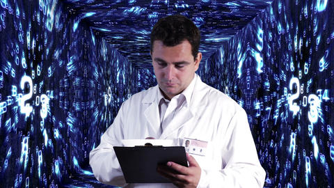 Scientist Checking Documents Numbers Tunnel Background 7 Footage
