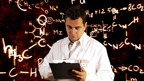 Scientist Checking Documents Scientific Chemistry Background 1 Footage