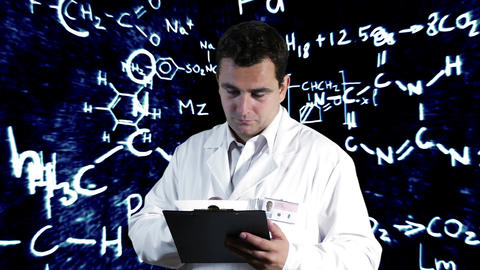 Scientist Checking Documents Scientific Chemistry Background 3 Footage
