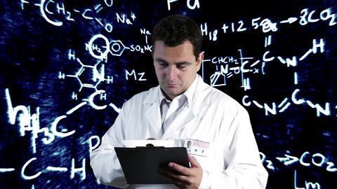 Scientist Checking Documents Scientific Chemistry Background 3 Footage
