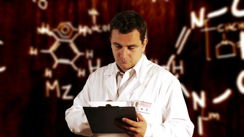 Scientist Checking Documents Scientific Chemistry Background 5 Footage