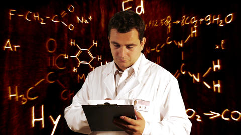Scientist Checking Documents Scientific Chemistry Background 9 Footage