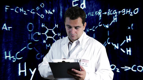 Scientist Checking Documents Scientific Chemistry Background 11 Footage
