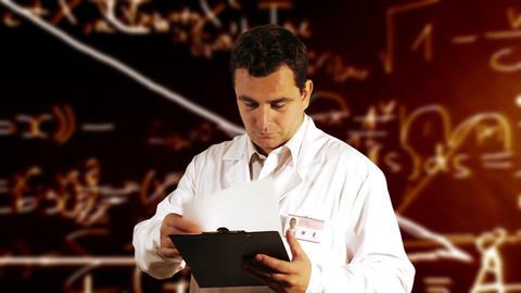 Scientist Checking Documents Scientific Mathematics Background 1 Footage