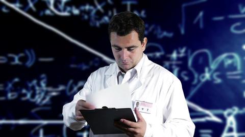 Scientist Checking Documents Scientific Mathematics Background 3 Footage