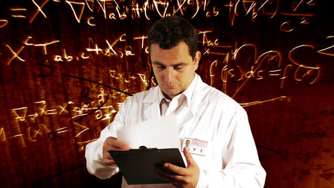 Scientist Checking Documents Scientific Mathematics Background 5 Footage