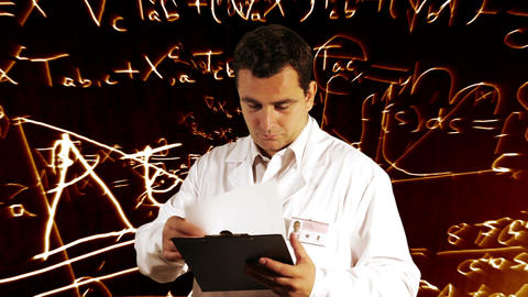 Scientist Checking Documents Scientific Mathematics Background 9 Footage