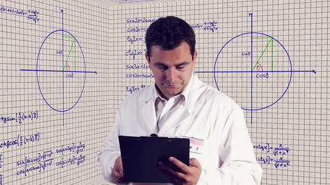 Scientist Checking Documents Scientific Mathematics... Stock Video Footage