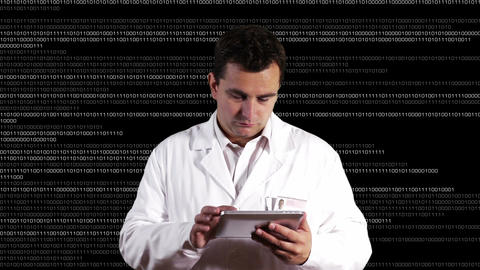 Scientist using Tablet PC Binary Numbers Background 1 Stock Video Footage