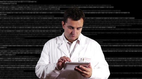 Scientist using Tablet PC Binary Numbers Background 1 Footage