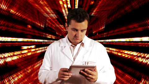 Scientist using Tablet PC Binary Numbers Tunnel Background 1 Stock Video Footage
