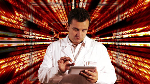 Scientist using Tablet PC Binary Numbers Tunnel Background 1 Footage