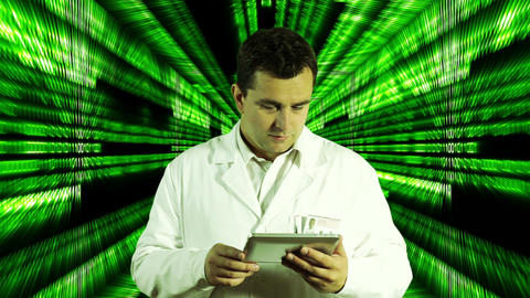 Scientist using Tablet PC Binary Numbers Tunnel Background 3 Stock Video Footage