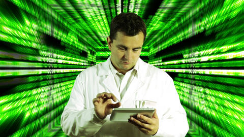 Scientist using Tablet PC Binary Numbers Tunnel Background 3 Footage