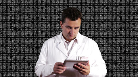 Scientist using Tablet PC Decimal Numbers Background 2 Stock Video Footage