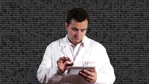 Scientist using Tablet PC Decimal Numbers Background 2 Footage