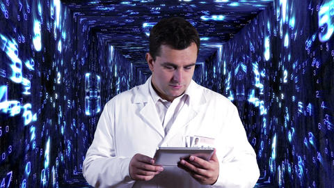 Scientist using Tablet PC Decimal Numbers Tunnel... Stock Video Footage