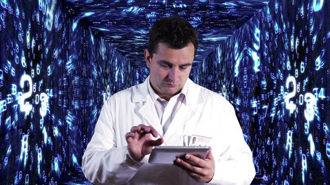 Scientist using Tablet PC Decimal Numbers Tunnel Background 7 Footage