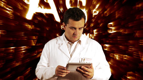 Scientist Using Tablet PC Forming Science Text Background 3 Stock Video Footage