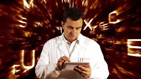 Scientist Using Tablet PC Forming Science Text Background 3 Footage