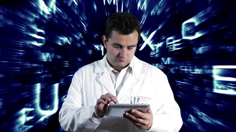 Scientist Using Tablet PC Forming Science Text Background 5 Footage