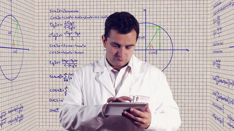 Scientist Using Tablet PC Scientific Mathematics Background 1 Footage