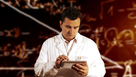 Scientist Using Tablet PC Scientific Mathematics Background 7 Footage
