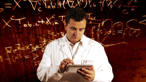 Scientist Using Tablet PC Scientific Mathematics Background 11 Footage