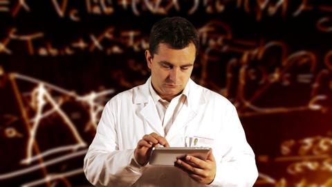 Scientist Using Tablet PC Scientific Mathematics B Stock Video Footage