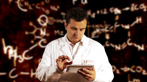 Scientist using Tablet PC with Scientific Chemistry Background 1 Footage